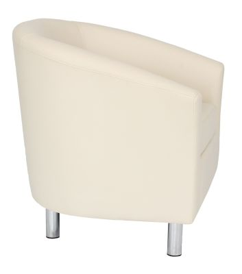 Tritium Cream Leather Tub Chair With Chrome Feet Side View
