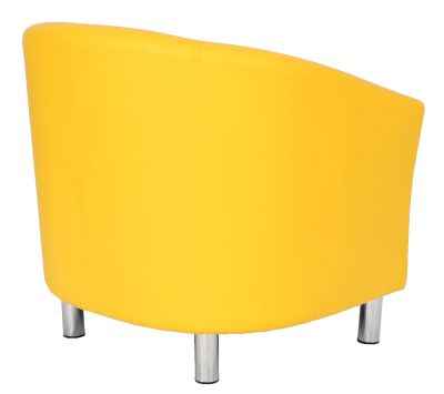 Tritium Tub Chair In Yellow With Chrome Feet Rear Angle View