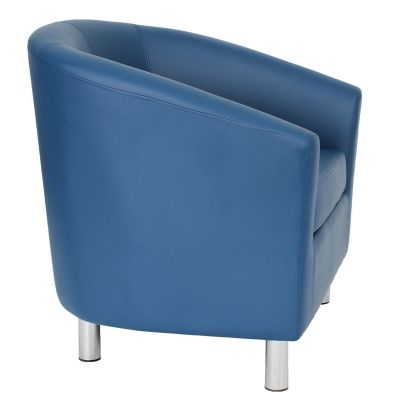 Navy Blue Tritium Tub Chairs With Chrome Feet Side View