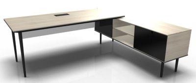 Longo Black And Acacia-Glass-Dark With Modesty Panel
