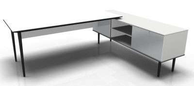 Longo Black And Glass-White- Glass-White With Modesty Panel