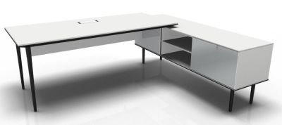 Longo Black And White- Glass-White With Modesty Panel