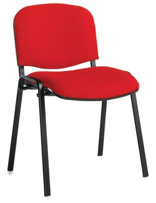 Stakka Chair In Red Fabric With A Black Frame