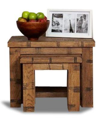 Hatfield Rough Sawn Oak Nest Of Coffee Tables