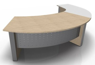 Direction Style Curved Desk And Glass Curved Return WO+G 1