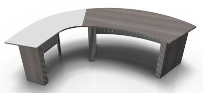Direction Style Curved Desk And Glass Curved Return Rear View